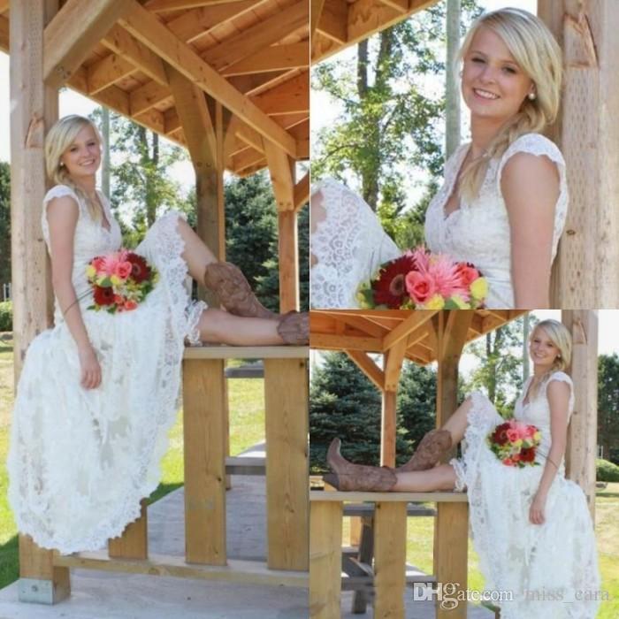 Vintage Country Western Tea Length Wedding Dresses Full Lace V Neck Cap Short Sleeves Boho Cheap Modest Designer Bridal Gowns
