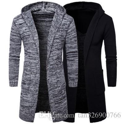 İlkbahar ve sonbahar yeni erkek kapüşonlu kalın hırka kazak ceket trendi Avrupa ve Amerika gelgit kazak kazak