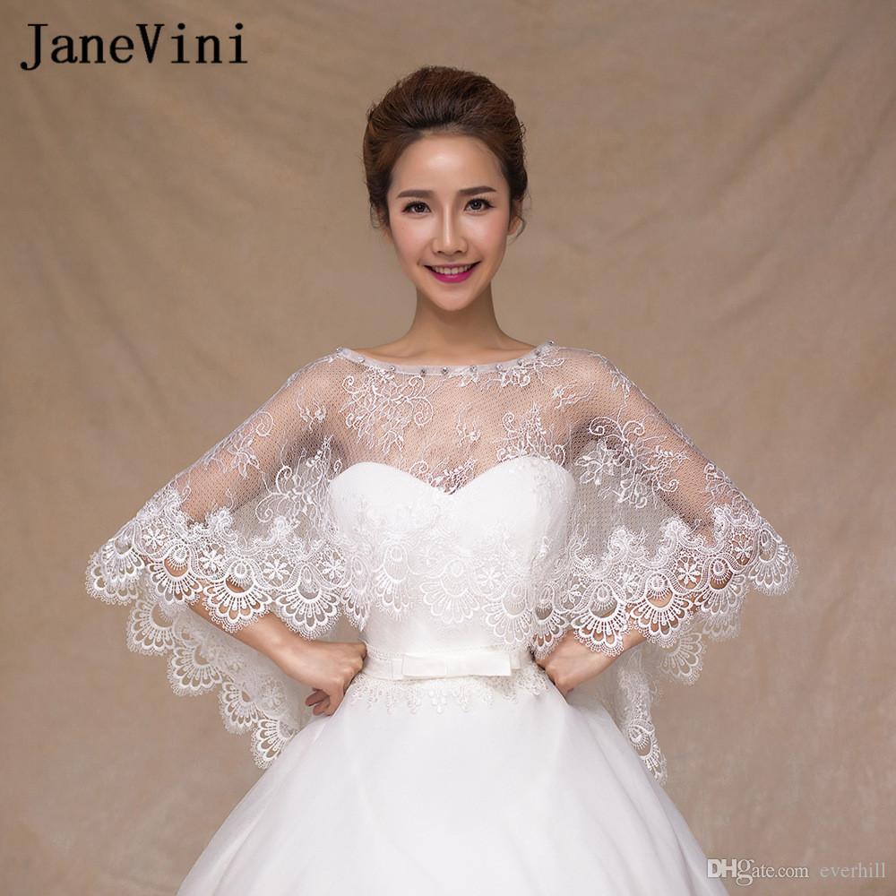 2018 Lebanon Lace Jackets For Wedding Shawl White Women Girl Beaded Bridal Short Bolero Capes Wraps Shrug Sheer Veste Mariage