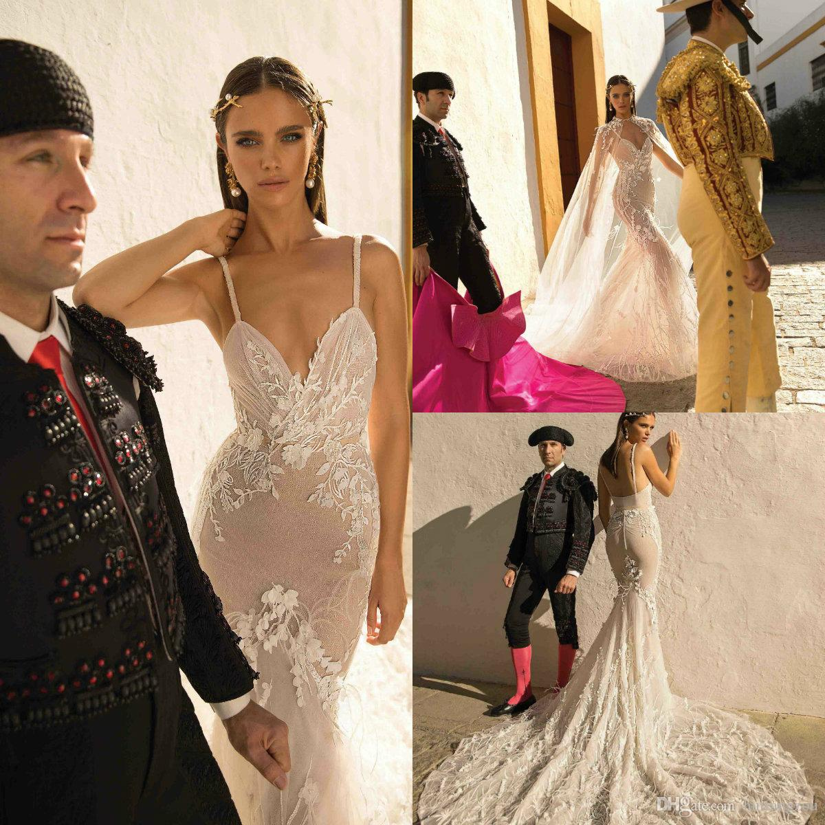 Berta Illusion Mermaid Abiti da sposa 2018 Spaghetti Lace Applique Feathers Abiti da sposa Custom Made Sweep Train Wedding Dress With Wrap