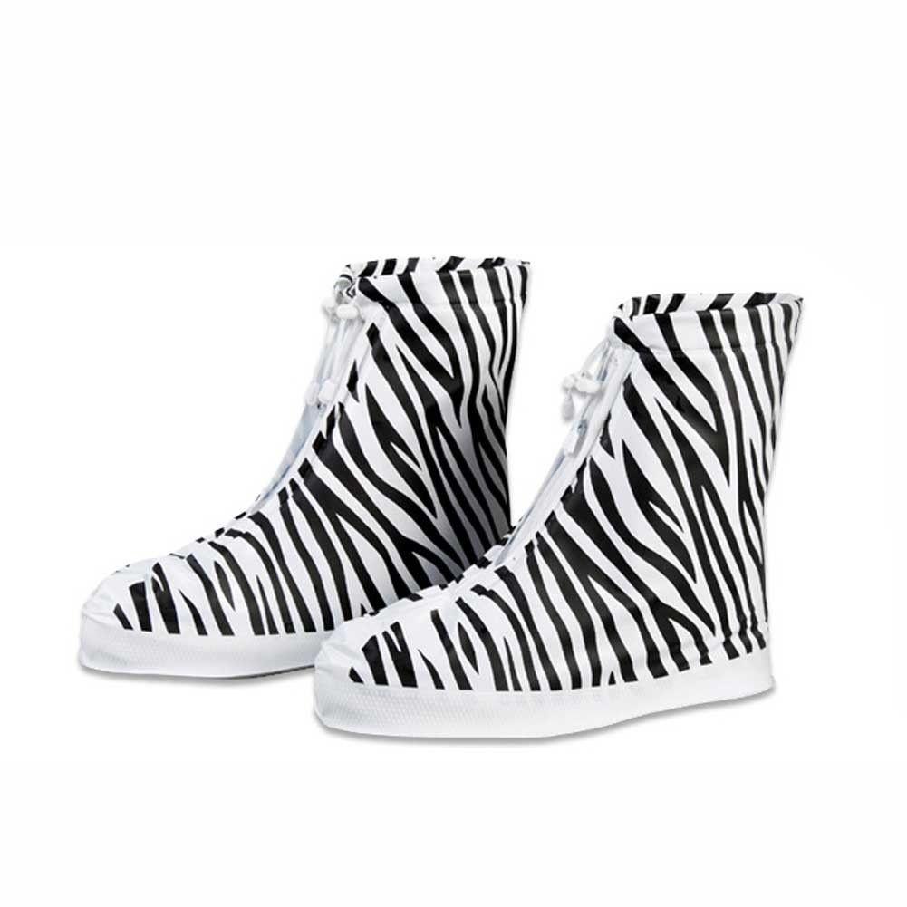 NUOVO PVC overshoes donne stivali da pioggia galosce copri scarpe riutilizzabili zebra stampa impermeabile direttamente lavato