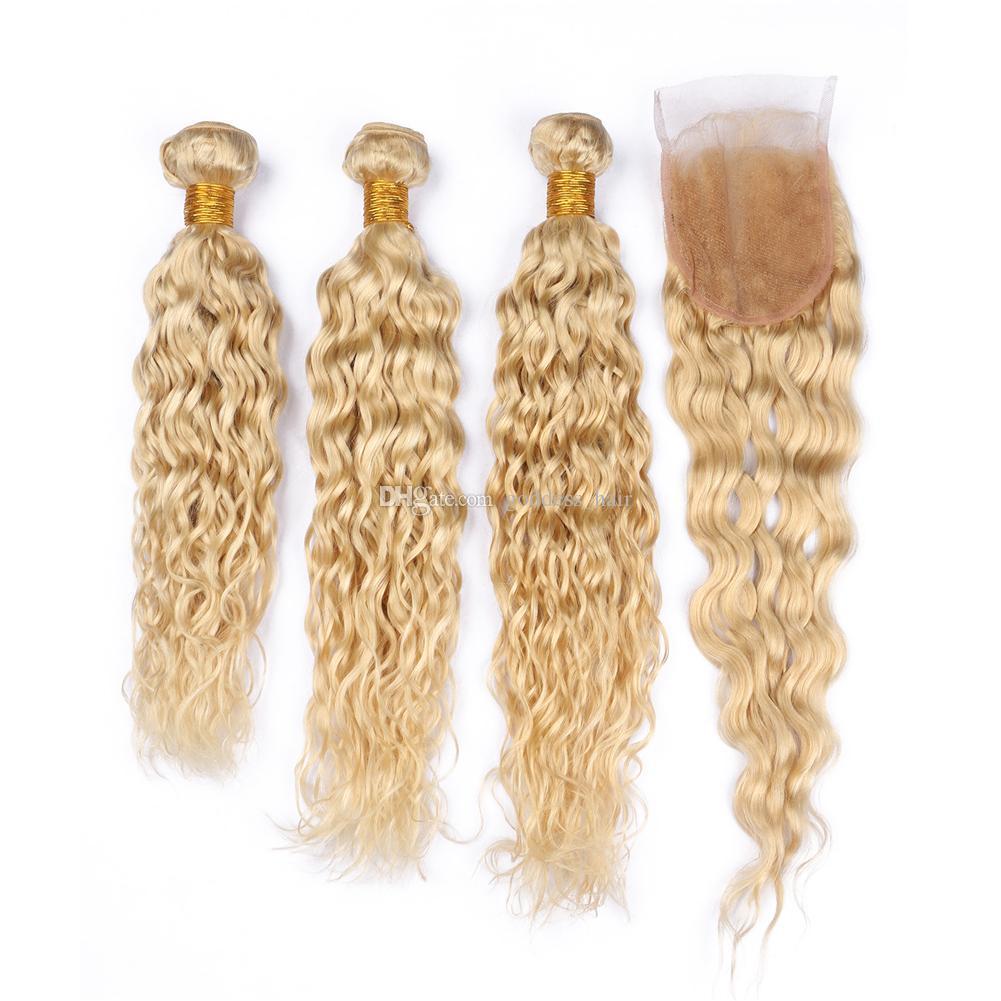 Blonde # 613 Weat Wavy Capelli intrecciati con chiusura a pizzo 4pcs / lot Wave Brasiliano Wave Capelli umani 3 Bundles con chiusura a pizzo Parte GRATUITA