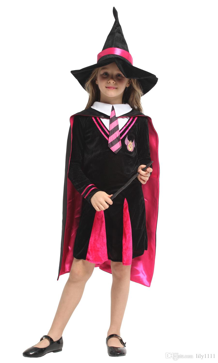 Shanghai Story Kids Girls Magician Costume Carnival Halloween Masquerade Witch Wizard Children Cosplay Clothes