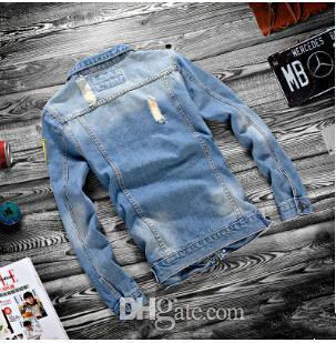 Мужчины весенние куртки куртки с длинными рукавами синий дизайнер джинсовые пальто Новый хип разорвал однобортную джинсовую одежду BGGCL