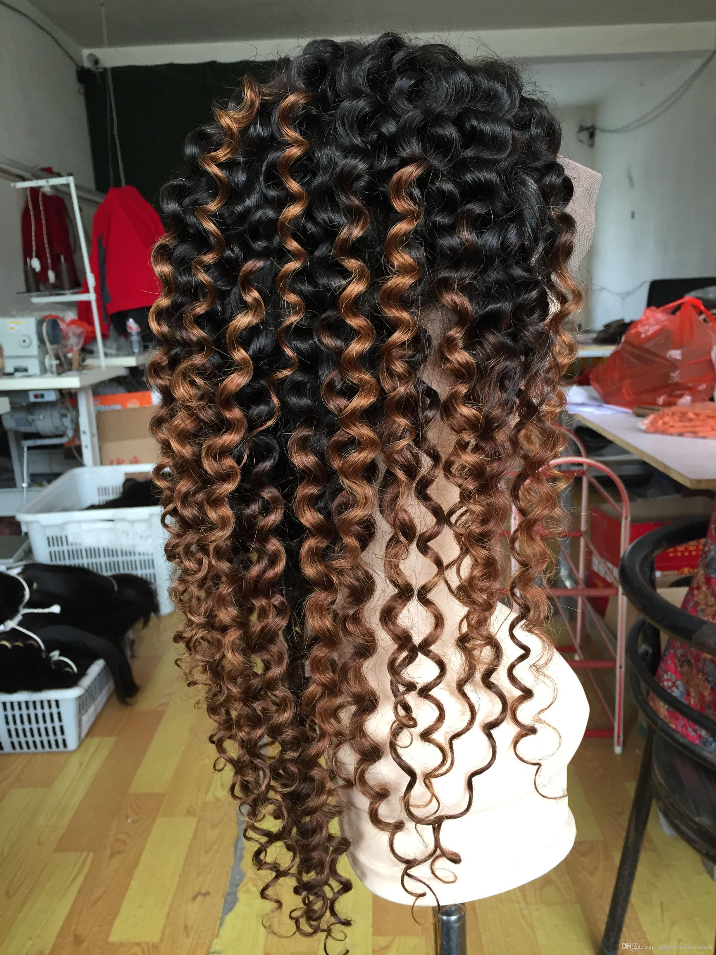 Spedizione gratuita radici scure 1b 30 # ombre marrone crespo ricci crespi parrucche anteriori glueless parrucche anteriori del merletto per le donne nere