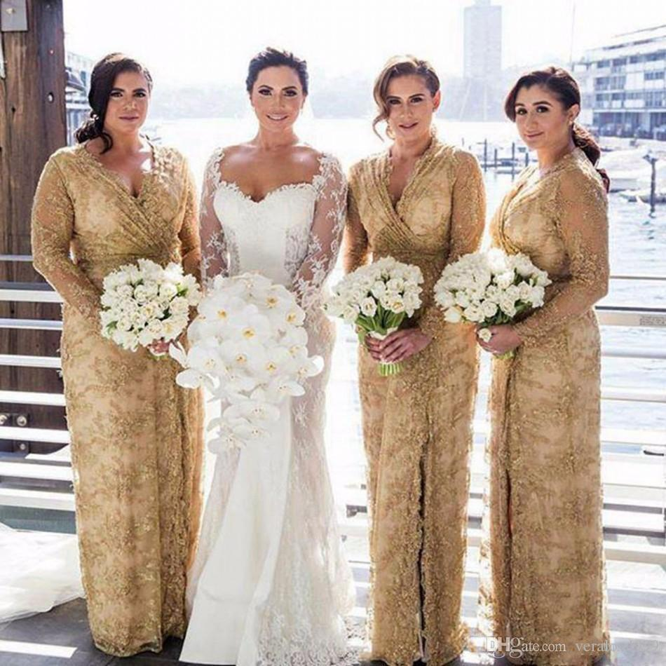 Gold Lace Bridesmaid Dresses 2018 V Neck Plus Size Long Sleeves Maid Of Honor Gowns With Side Split Floor Length Wedding Guest Dress
