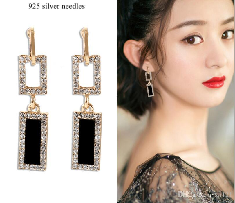 925 sterling silver needle earrings European and American temperament exaggerated geometric long earrings female personality square tassel