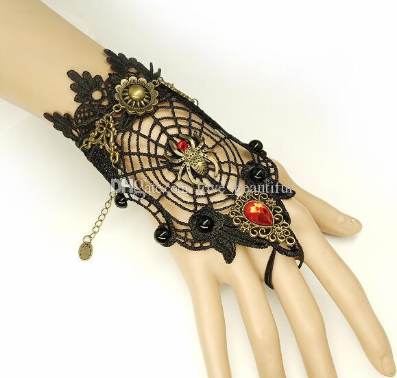 Hot style Vintage bracelet spider web black lace mitten ring matching ornaments Halloween fashion classic exquisite elegance