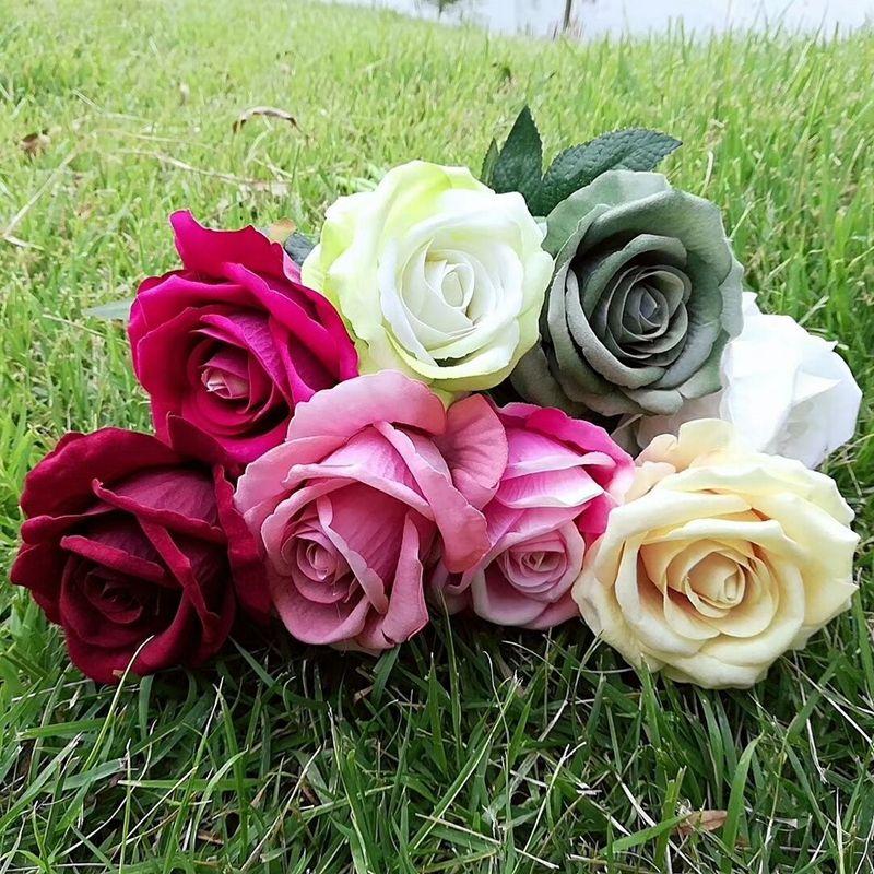 LIN HOMBRE Venta Caliente 13 colores Diámetro 8 cm Rosas de Terciopelo Artificial Para El Hogar Ramo Del Banquete de Boda Artesanía DIY Flores Artificiales Decoración