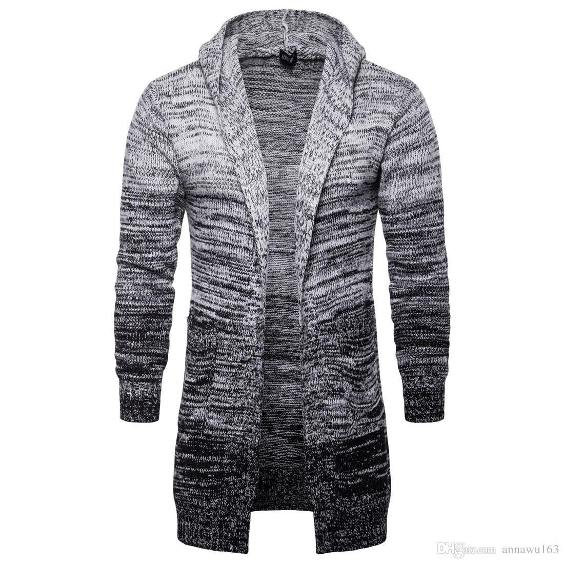 Новый конструктор свитера кардигана Мень V-образный вырез Длинный свитер с градиентом высокого качества хлопка Смешать Вязаная зима Mens свитер для продаж