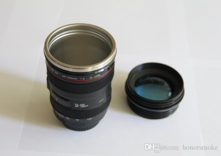 tazze Flask latte tazza di caffè della novità 6 Generation Camera Lens Mug 400ml creativo Canon portatile dell'acciaio inossidabile Tumbler viaggio vuoto