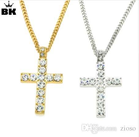 Envío de la gota Hip Hop aleación cruz collar colgante Iced Out Rhinestone oro plata tono Crucifijo joyería del encanto