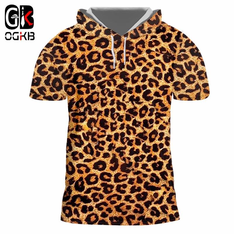 OGKB Kapşonlu Tee Gömlek Hombre Yeni Kısa Hayvan 3D Tshirt Baskı Leopar Streetwear 5XL 6XL Kostüm Adam Bahar Hoodie T-shirt