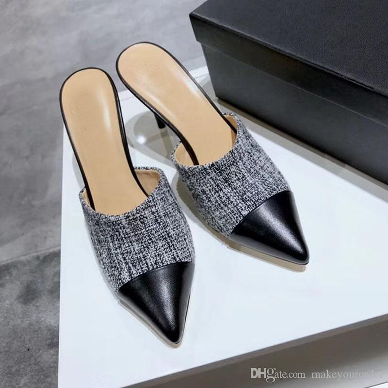 with dust bag+ box free shipping 5cm heel size 35-40 new design sheepskin genuine leather pointed toe sandals