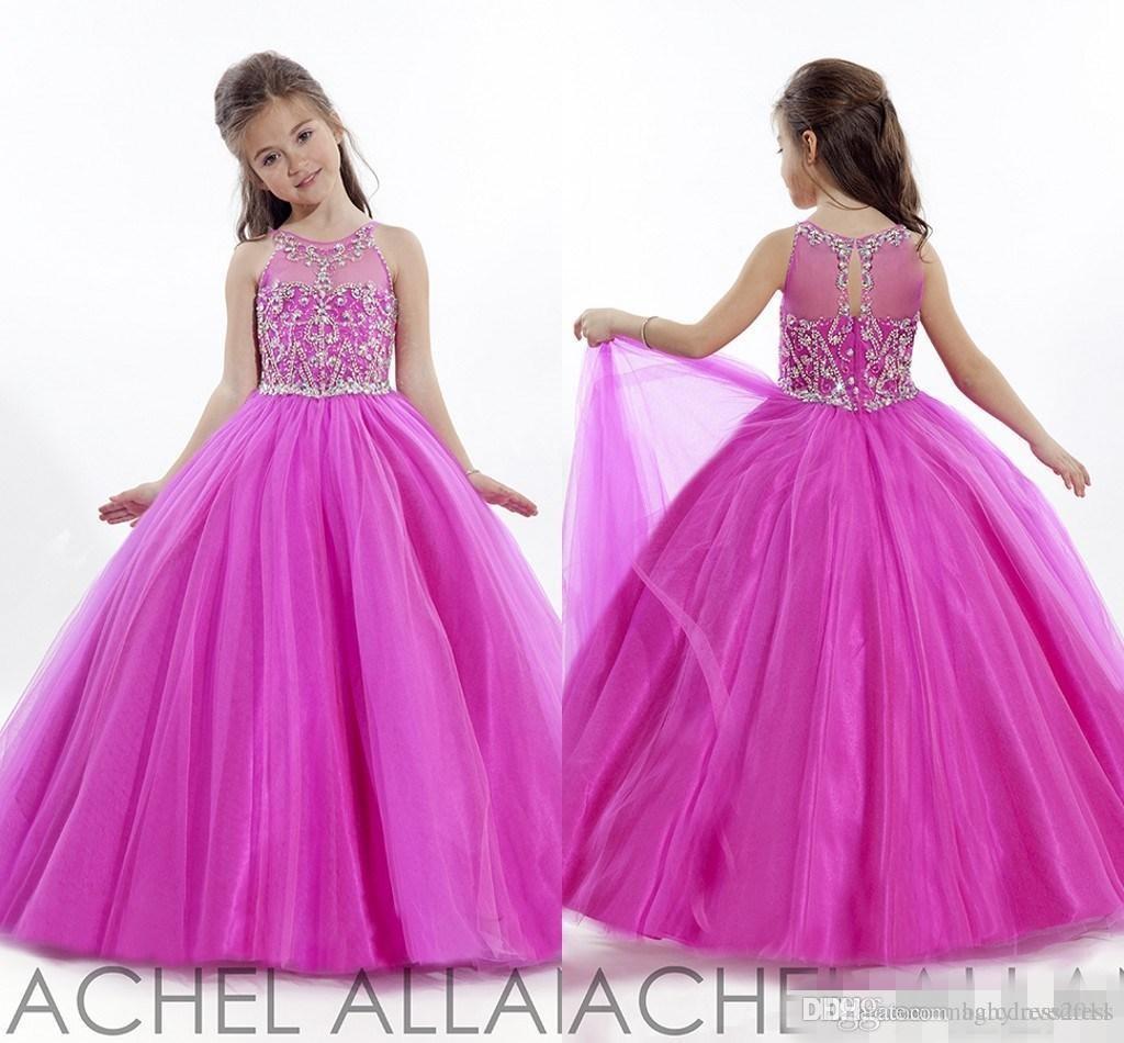 Prenses Düğün Yürüyor Fuschia 2019 Pageant Abiye Çiçek Kız Elbise Resmi Uzun Ucuz Küçük Kızlar Için Elbise Kristaller kızın Ucuz