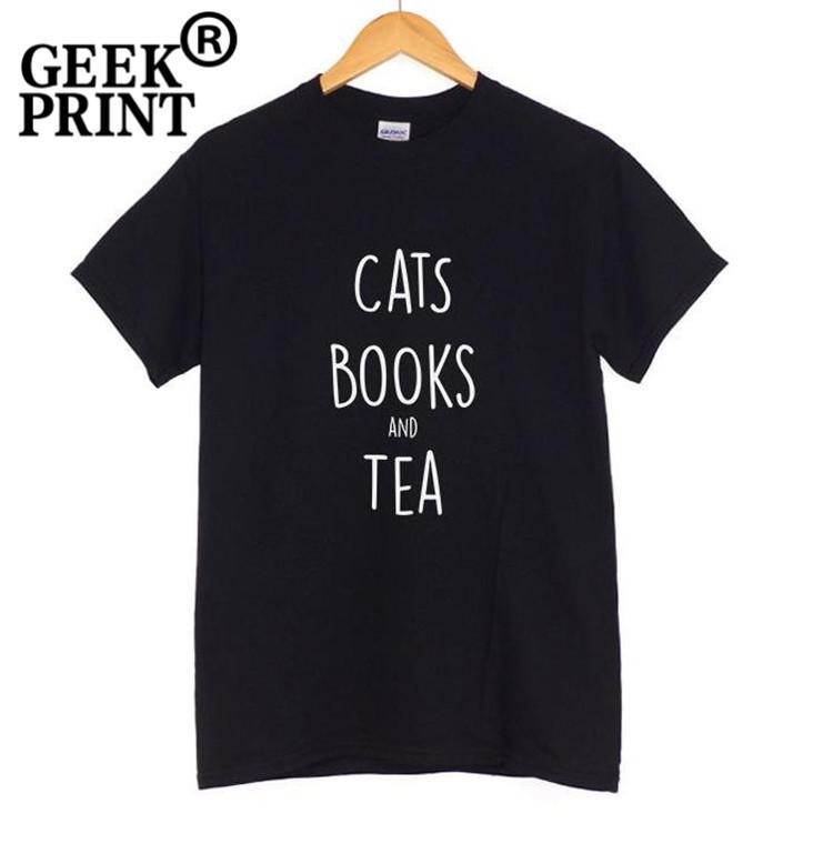 Mulheres Tee Mulheres Allover Gatos, Livros E Logotipo Do Chá Tshirt Casual Camisas Engraçadas de T Senhora Top Tee Blogger Presentes Dropshipping