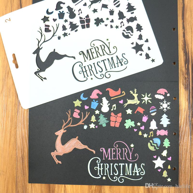 DIY Merry Christmas Theme Painting Template Bullet Journal Stencil Set Xmas Deer Scrapbooking DIY Cards Embossing Paper