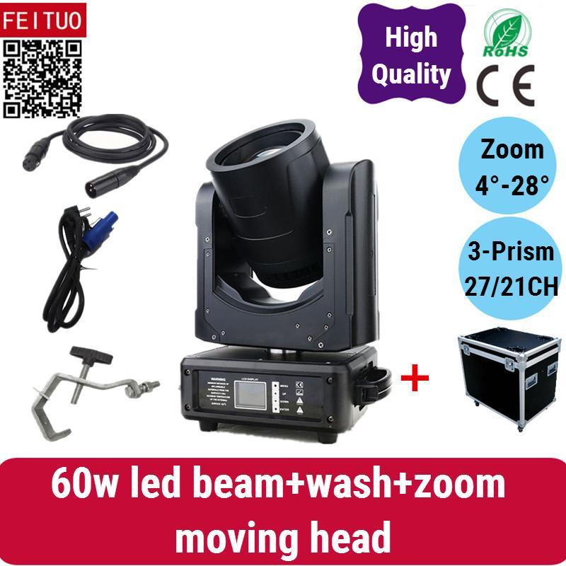 قاد 4light مع حالة ذبابة Lyre Beam + Wash + Zoom 60w رأس متحرك