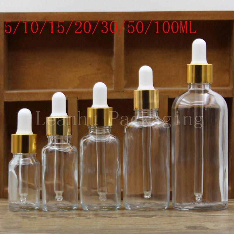 5/10/15/20/30/50 / 100ML Garrafa De Vidro Transparente, Óleo Essencial / frasco De Embalagem De Perfume Conta-gotas, Recipiente Cosmético Vazio