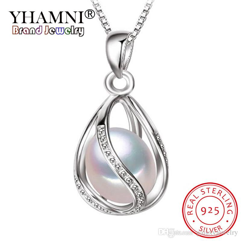 YHAMNI Luxury 100% Natural Pearl Pendant Necklace Fashion Style Exquisite Freshwater Pearl Silver Chain Necklace Pendant Y0925