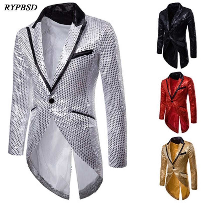 Red Sequins 2019 New Design Long Tuxedo Blazer Slim Men Suit Pants Mens Evening Stage Formal Dress Blazer 4 Colors