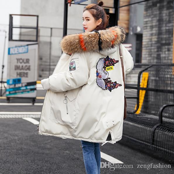 Maylina 2018 Long Parkas Hooded Warm Real Raccoon Fur Thicken Womens Down Jacket Women Winter Coat Cotton Coats Female Outerwear