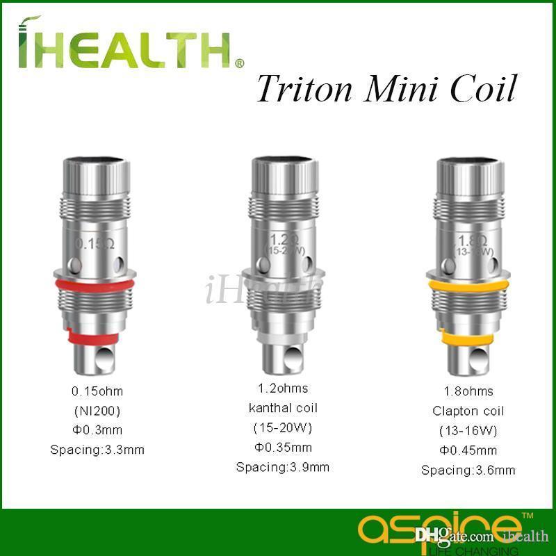 Authentic! Aspire Triton Mini Replacement Coil Head Ni200 0.15ohm 1.2ohm Clapton 1.8ohm Replaceable coil head for Triton mini tank