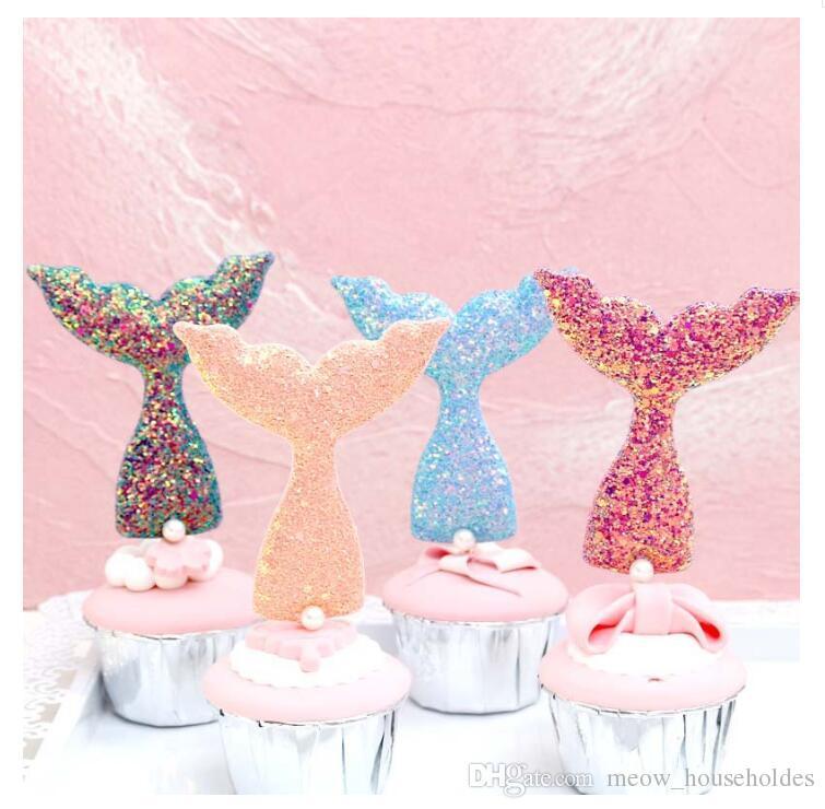 6 Pcs/set Glittering Mermaid Tail Cake Topper Under The Sea Ocean Theme Birthday Party Cupcake Decor Wedding Baby Shower Supplies