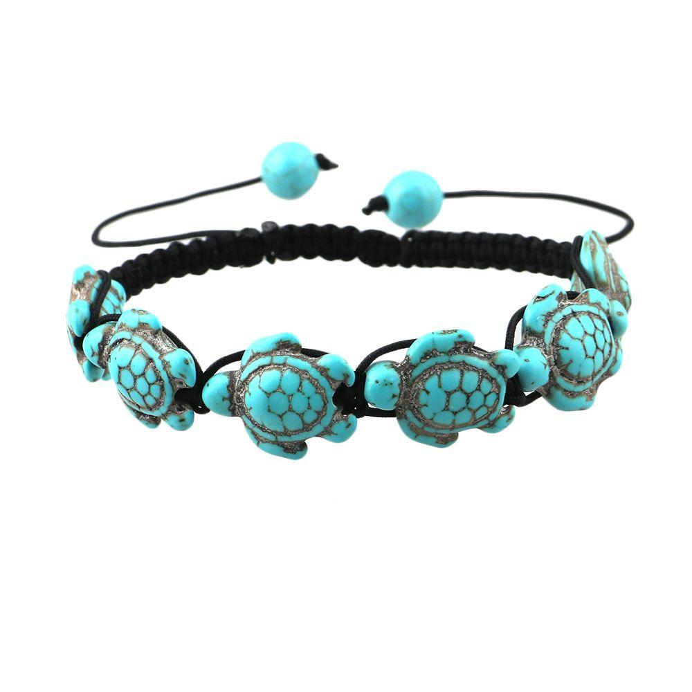 Mens Turquoise Turtle Charm Bracelets stone Braided Rope adjustable Bangle For Unisex women s Fashion Jewelry