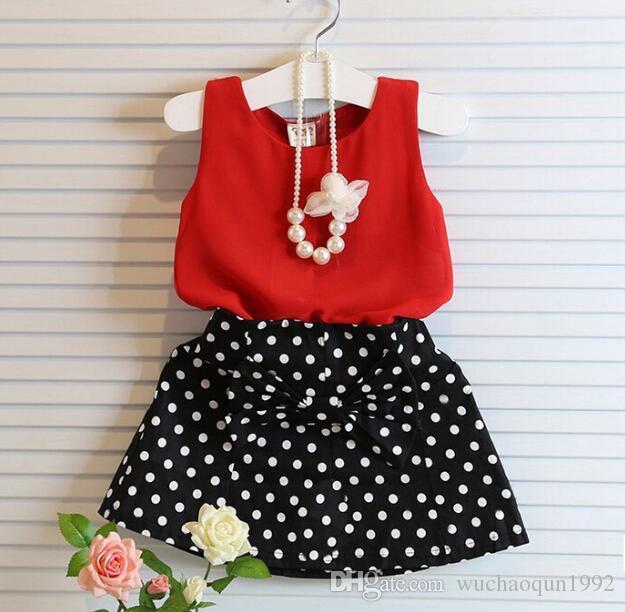 아기 소녀 의류 세트 여름 붉은 시폰 조끼 + 활 폴카 도트 치마 복장 어린이 의류 키즈 복장