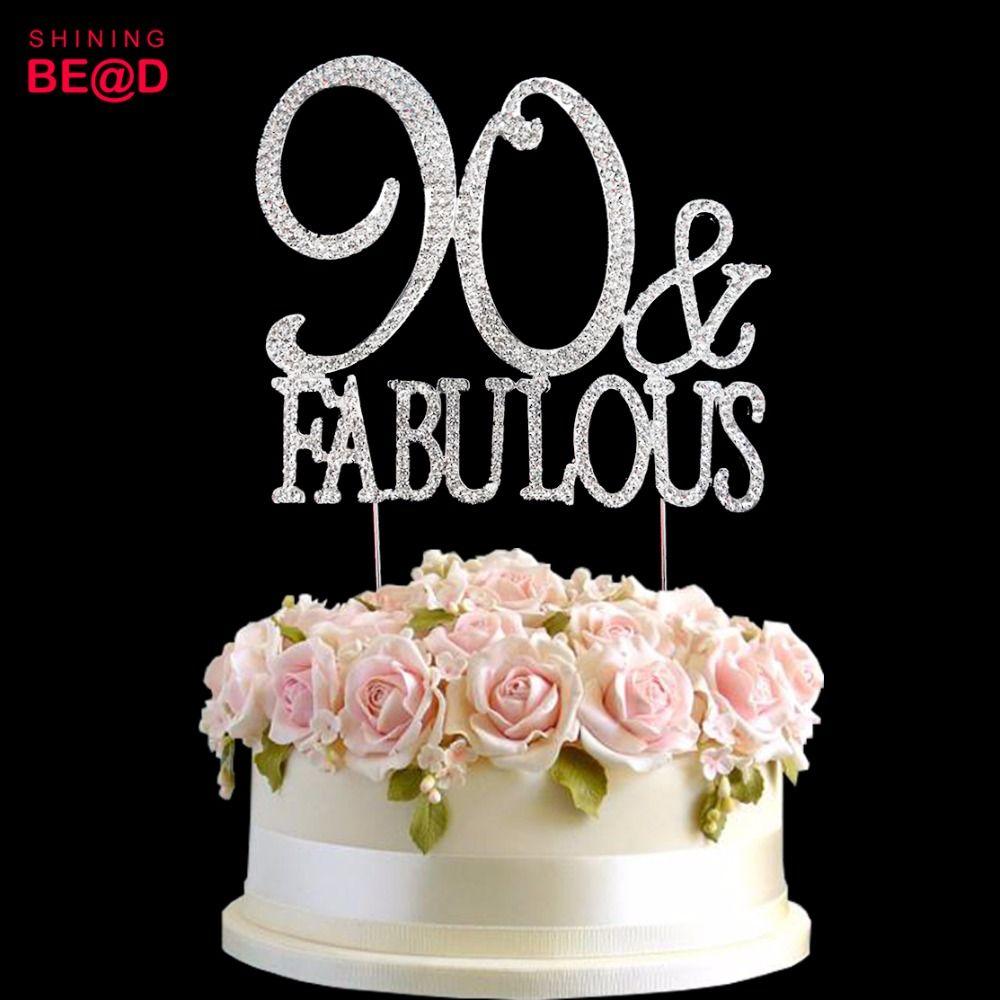 Superb 2020 90 Amp Fabulous Cake Topper Decoration Crystal Rhinestones Personalised Birthday Cards Veneteletsinfo
