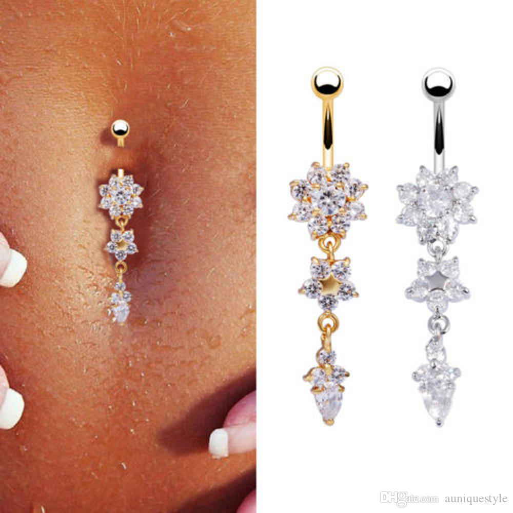 Sexy Dangle Belly Bares Umbigo Anéis, Auniquestyle Belly Piercing CZ cristal Flor Corpo jóias piercing no umbigo Rings