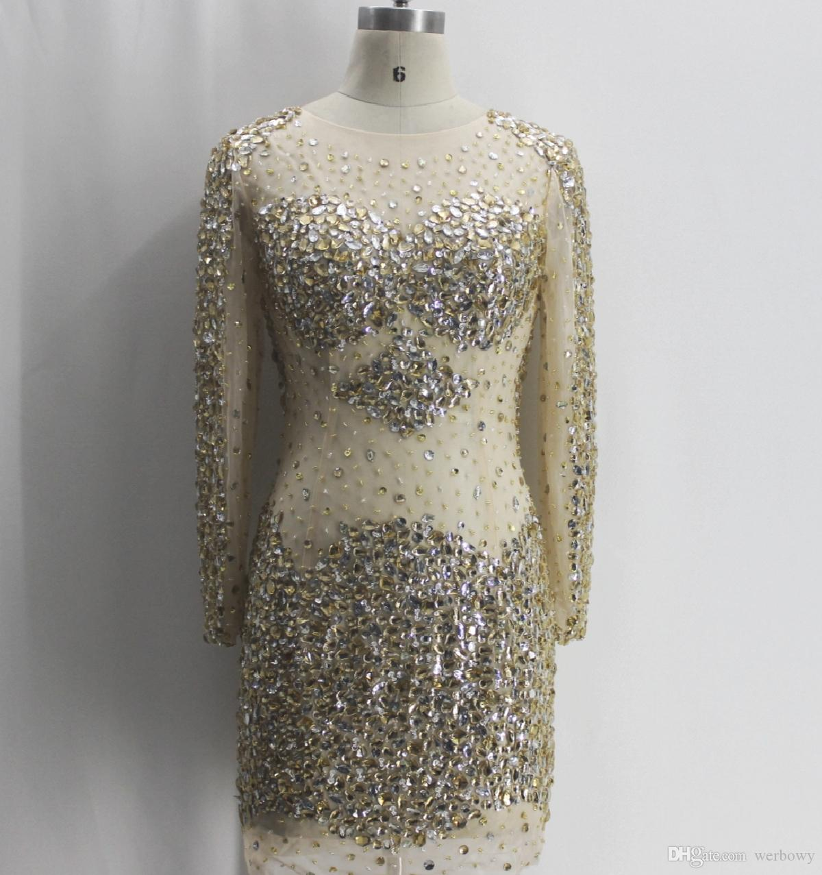 Free Shipping In-kind Shooting New Sexy Long-sleeved Crewneck Prom Dresses Big Handmade Beaded Slim Package Hip Short Party Dresses HY0707