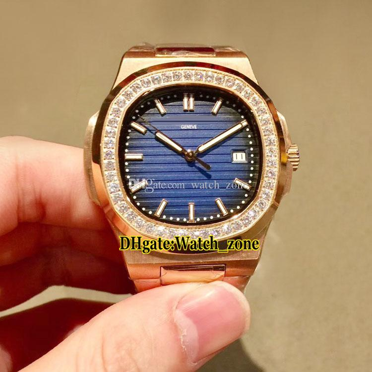 40 mm New Sport Nautilus 5713 / 1G-010 D-Blue Dial Reloj automático para hombres Caja / brazalete de acero en oro rosa Reloj de pulsera con zafiro y diamantes Diamante