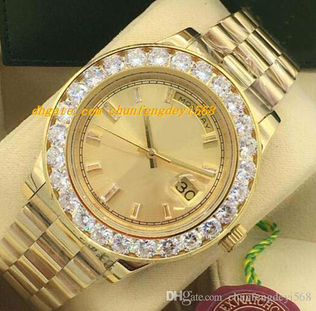 Luksusowe zegarki 2 Style Większy Diament Bezel Męskie 228238 18K Yellow Gold Diamond Dial 44mm Automatyczne Moda Zegarek Męski Zegarek
