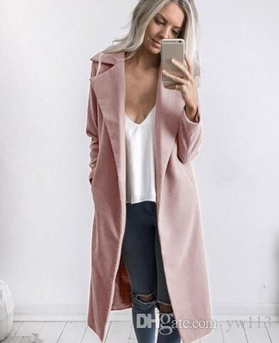 2018 новая мода женщины зима теплая шерсть отворот длинные пальто женский стильный твердые длинные тонкие пальто перевешивает одежду