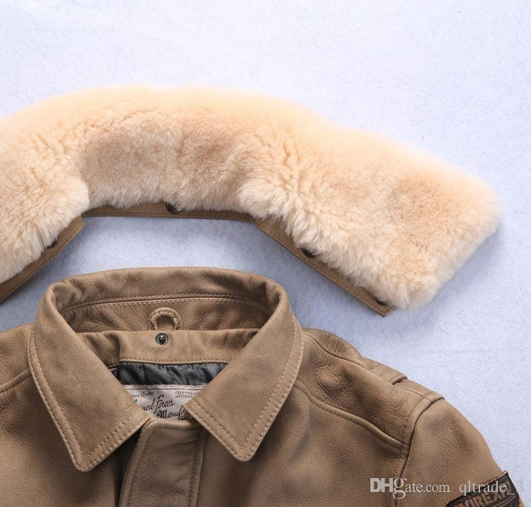 2017 Lapel Neck collar genuine leather jackets AVIREXFLY flight bomber jackets popular outdoor men motorcycle jackets M-3XL