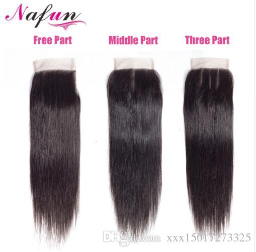 Hair Malaysian Straight 4*4 Lace Closure Middle/Free/Three Part Natural Color Non Remy Human Hair Closure 8 To 20 Inches