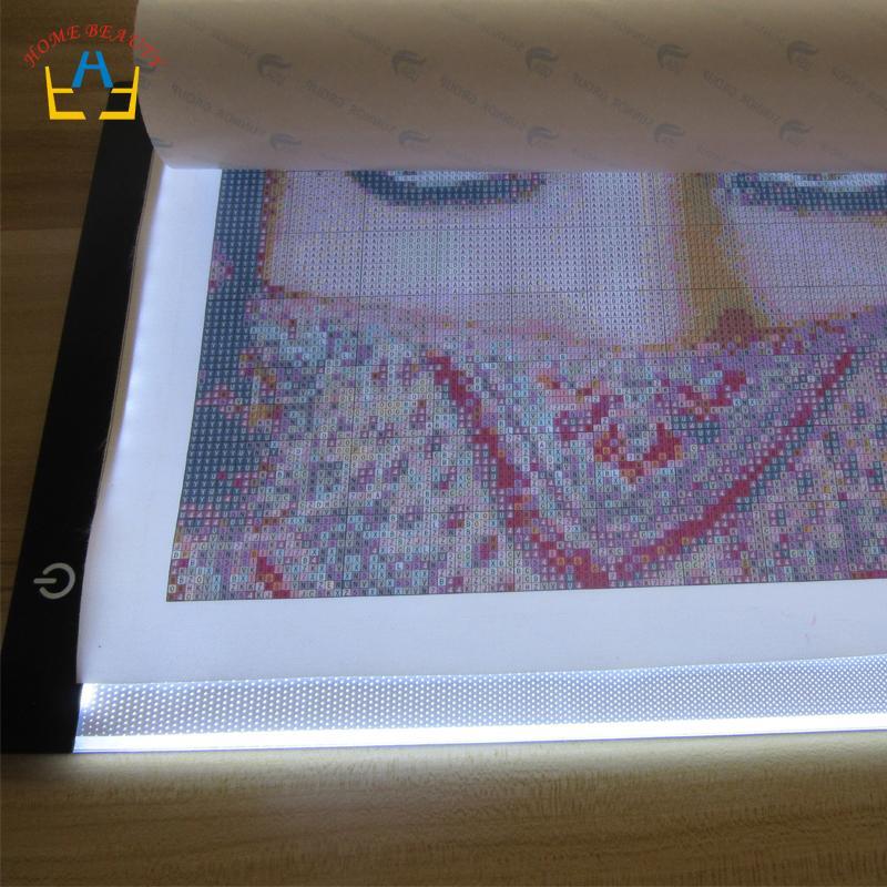 Acessórios de pintura de diamante A4 levou cópia mesa de desenho placa de escrita ferramentas de placa de luz ajustável para diamante bordado mosaico