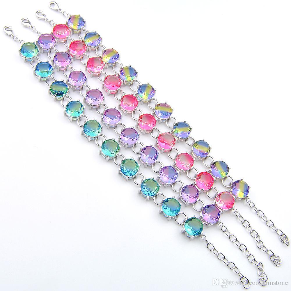 Luckyshien Christmas gift Mystic mix Multi-color Tourmaline Gemstone Silver Plated Round Shaped Bracelet Bangle Bracelet Jewelry