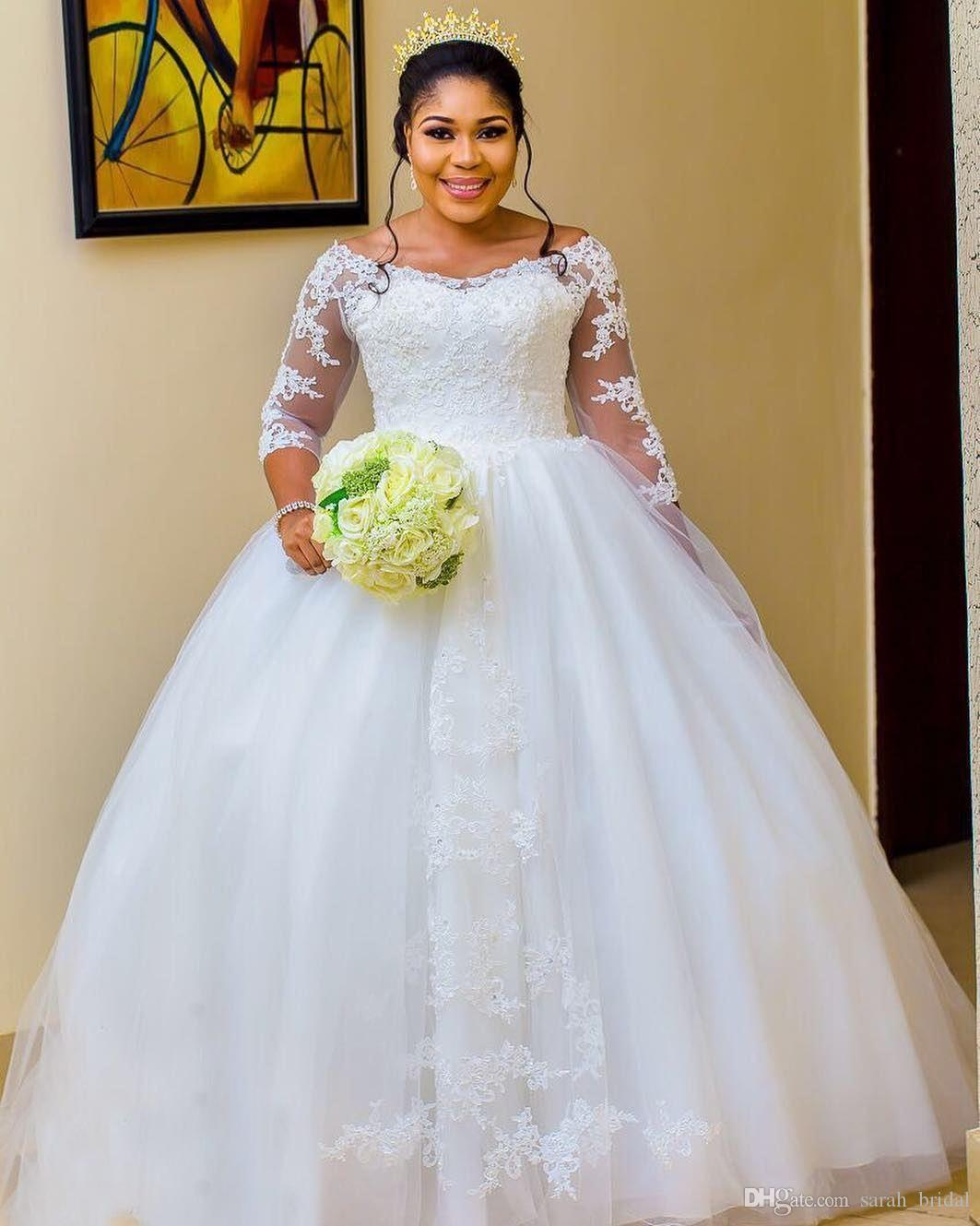 Bellanaija Nigeria Long Sleeves Wedding Dresses 2020 Ball Gown Plus Size  Off Shoulder Vintage Lace Black Girls Arabic Wedding Bridal Gown Wedding ...