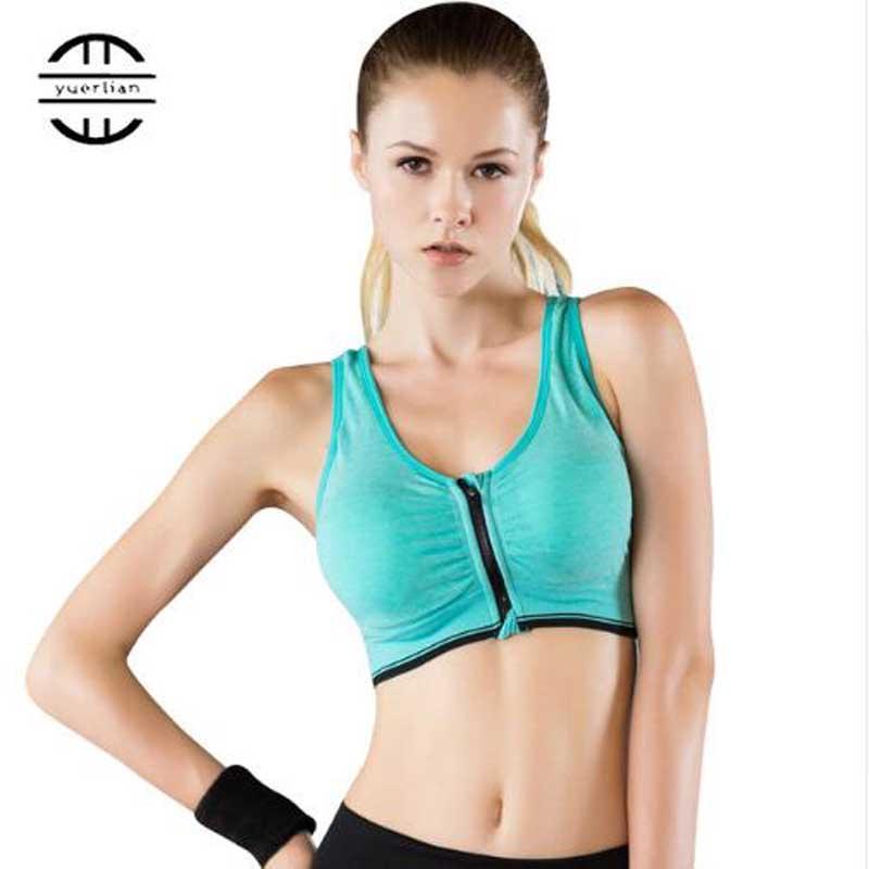 Frauen Drücken Sport-BH Mit Front-Reißverschluss Yoga-Sport-BH Activewear-BH