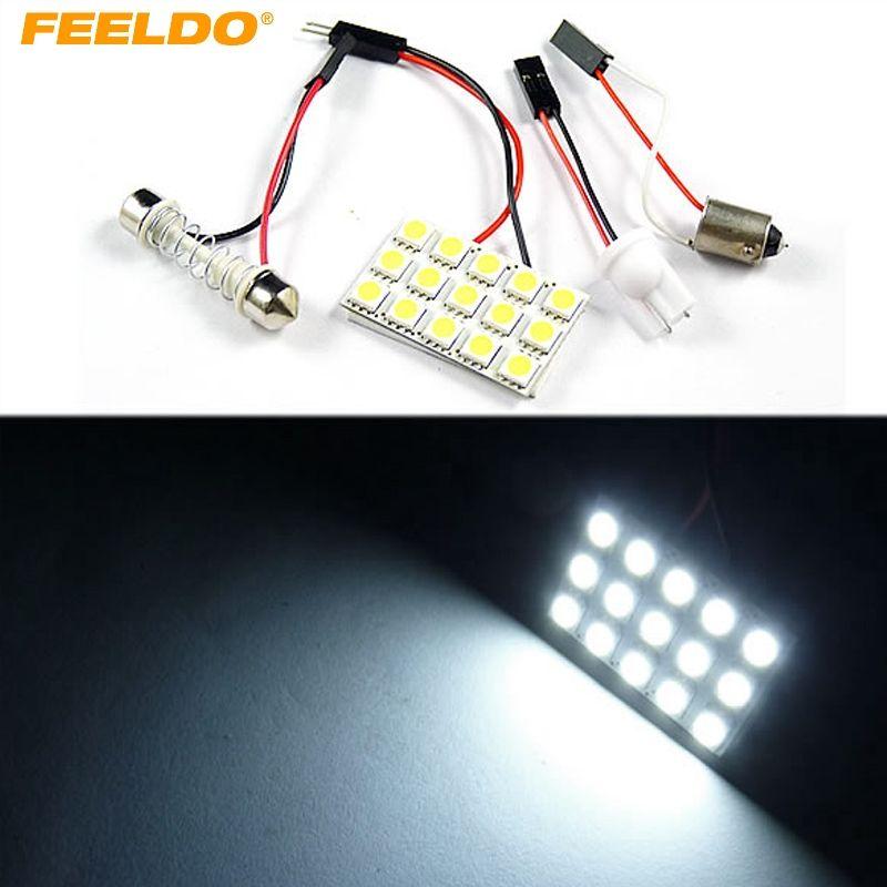 FEELDO 2set White 15SMD 5050 Чиповая автомобильная светодиодная лампа с 3 адаптерами T10 / BA9S / Festoon Dome Dome # 3322