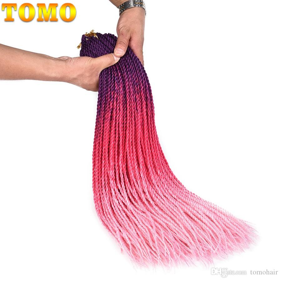 TOMO Small Colored Senegalese Twist Crochet Braids 24Inch Synthetic Hair for Braid Ombre Kanekalon Braiding Hair For Black Or White Women