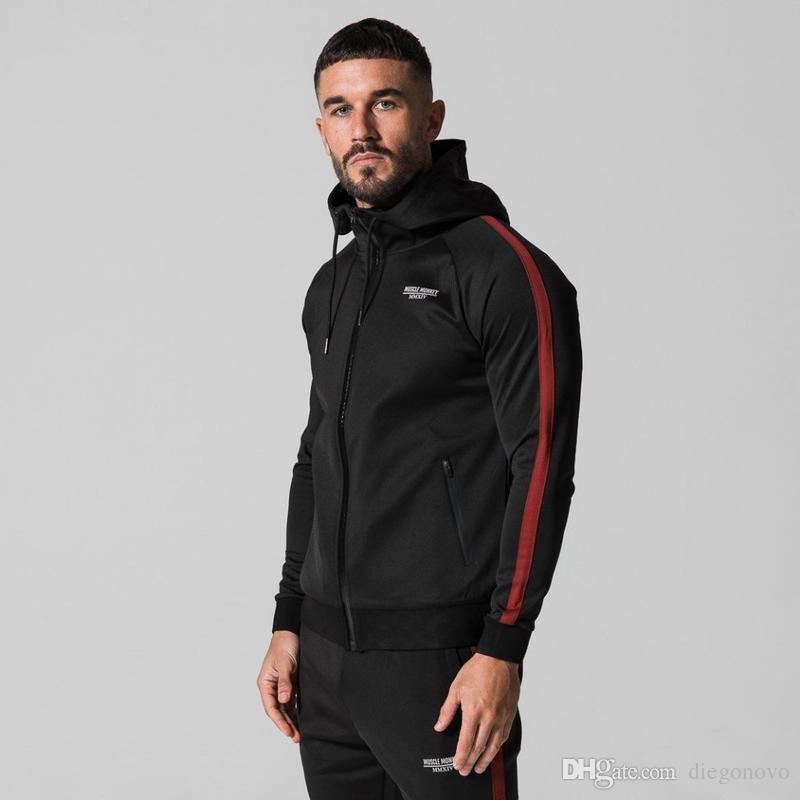 2018 Moda Nuevos Hombres gimnasio Sudadera Con Capucha chaqueta de Cremallera Sudadera Culturismo ropa de moda ropa de abrigo superior