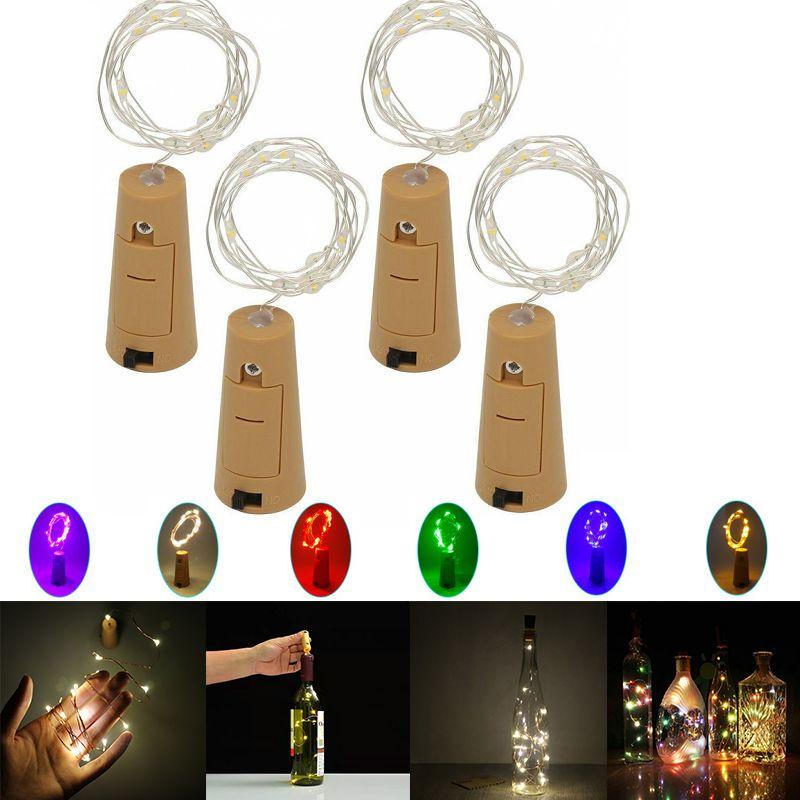 1M 10LED 2M 20LED Lamp Cork Shaped Bottle Stopper Light Indoor LED Silvery Wire String Lights For Glass Bottle Party Wedding Christmas Decor