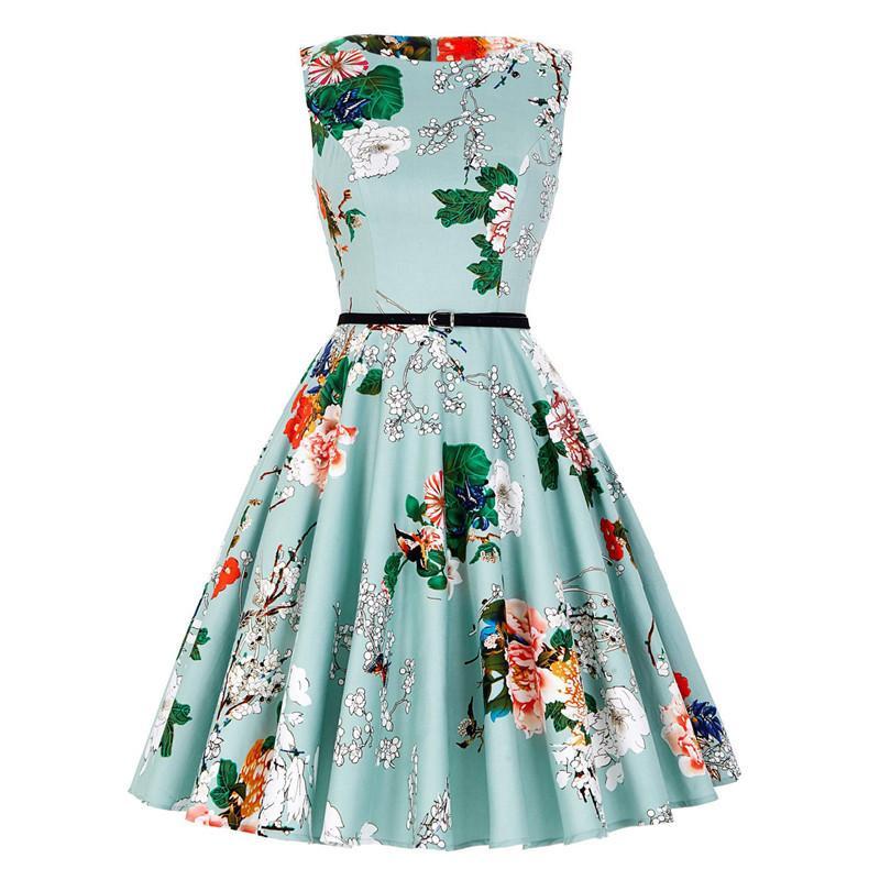 أزياء اللباس للمرأة أنيقة بلا أكمام خمر طباعة الخصر تنورة جولة الرقبة القطن النساء الملابس اللباس مع حزام OUC3085