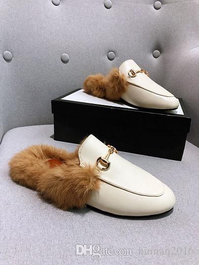 Top Italie Chaussures Designers Slides Designer Mocassins Femme Pantoufles Désinvoltes Sandales en cuir véritable fourrure Pantoufles