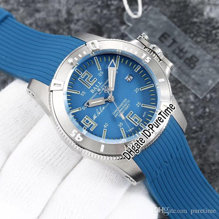 New BALL Engineer Hydrocarbon Spacemaster DM2036A-SCAJ-BK Daydate acciaio al titanio quadrante blu automatico Mens Watch Rubber Watches 9 colori E5