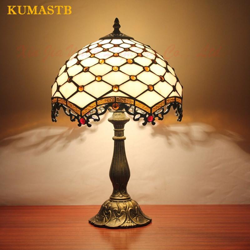 Style européen Lampe de table Vintage Table lumineuse salle de mariage Décoration de chevet Etude Lumière Vitrail Art Lampe de bureau